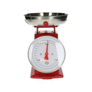 Retro keukenweegschaal, metaal, rood, 3 kg