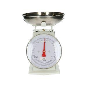 Retro keukenweegschaal, metaal, wit, 3 kg