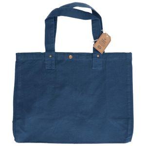 Sac cabas, coton bio, bleu denim, 46 x 34 x 18 cm