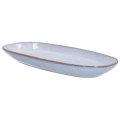 Schaal reactieve glazuur, steengoed, grijs, 26 x 12 cm