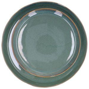 Schaal reactieve glazuur, steengoed, groen, Ø 31 cm