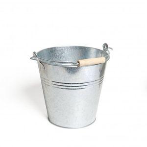 Seau avec poignée en hêtre, zinc, 5 L