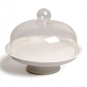 Serveerschaal op voet, porselein, met glazen stolp, Ø 30 cm