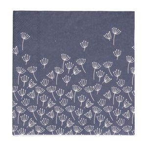 Servetten, papier, blauw met schermbloemen, 33 x 33 cm