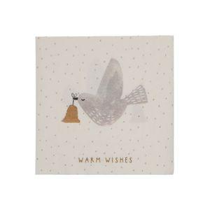 Servetten, papier, duif met kerstklok, 33 x 33 cm