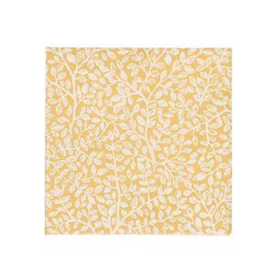 Servetten, papier, geel met takjesmotief, 25 x 25 cm