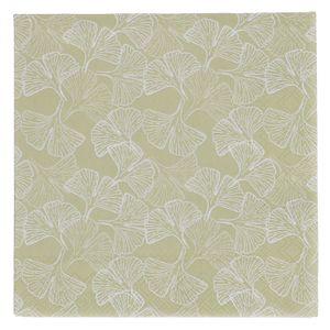 Servetten, papier, groen met ginkgomotief, 25 x 25 cm
