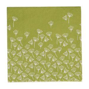 Servetten, papier, groen met schermbloemen, 33 x 33 cm
