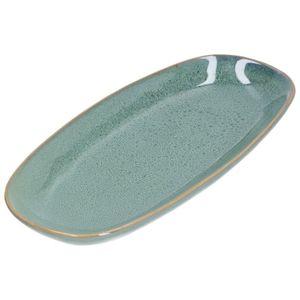 Servier-Platte, reactive Glasur, Steingut, grün, 26 x 12 cm