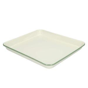 Serviertablett, Emaille, graugrün/weiß, 31 x 27 cm