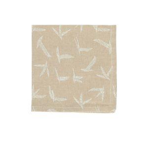 Serviette, Bio-Baumwolle, sand mit Vogeldruck
