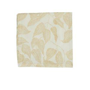 Serviette, Bio-Baumwolle, weiß mit gelbfarbigem Blättermotiv, 40 x 40 cm
