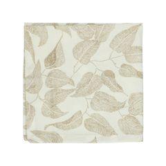Serviette, Bio-Baumwolle, weiß mit taupefarbigem Blättermotiv, 40 x 40 cm