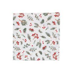 Serviette de table, coton bio, baies rouges, 40 x 40 cm