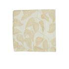 Serviette de table, coton bio, blanc à motif de feuillage jaune, 40 x 40 cm
