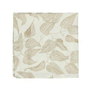 Serviette de table, coton bio, blanc à motif de feuillage taupe, 40 x 40 cm