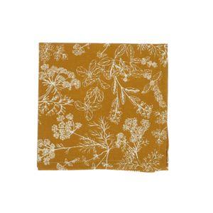 Serviette de table, coton bio, jaune ocre à motif d'herbes aromatiques