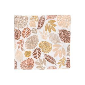 Serviette de table, coton bio, motif des feuilles brunes, 40 x 40 cm