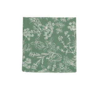 Serviette de table, coton bio, vert à motif d'herbes aromatiques