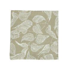 Serviette de table, coton bio, vert à motif de feuillage, 40 x 40 cm