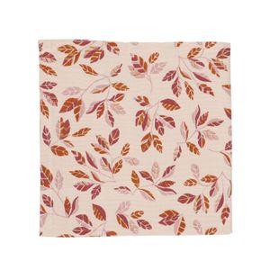 Serviette de table, coton, rose à motif de feuillage, 40 x 40 cm