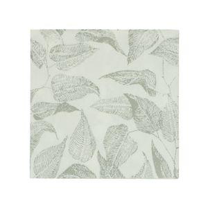 Serviettes de table, papier, blanc à motif de feuillage gris, 33 x 33 cm