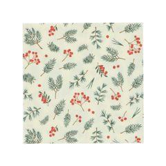 Serviettes de table, papier, brindilles et baies rouges, 33 x 33 cm