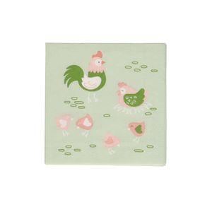 Serviettes de table, papier, coq et poule avec poussins, 25 x 25 cm