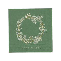 Serviettes de table, papier, couronne à baies blanches, 25 x 25 cm