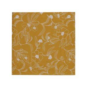 Serviettes de table, papier, jaune ocre imprimé fleuri, 33 x 33 cm