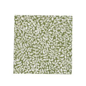 Serviettes de table, papier, vert à motif de rameaux, 25 x 25 cm