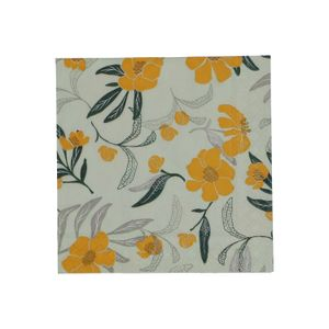 Serviettes de table, papier, vert/jaune, fleurs, 25 x 25 cm