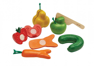 Snijsetje krom fruit en groente, rubberhout, 18m+