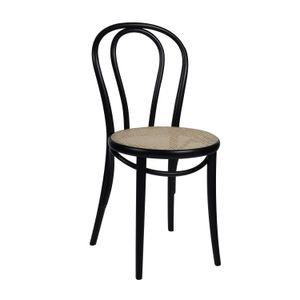 Stoel 18, beukenhout, zwart gelakt, rieten zitting