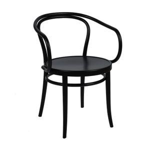 Stoel 30, beukenhout, zwart gelakt, houten zitting