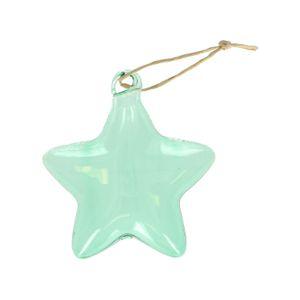 Suspension de Noël, étoile, verre, vert clair, 10 x 8,5 cm