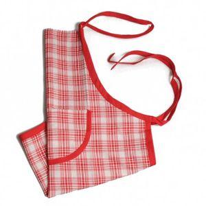 Tablier de cuisine pour enfant en coton à carreaux rouges
