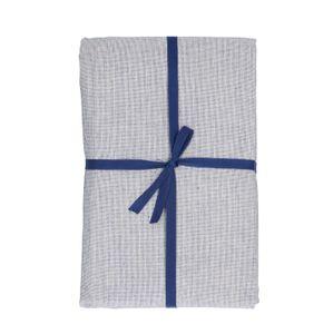 Tafelkleed, bio-katoen, blauw/wit gemêleerd, 145 x 250 cm