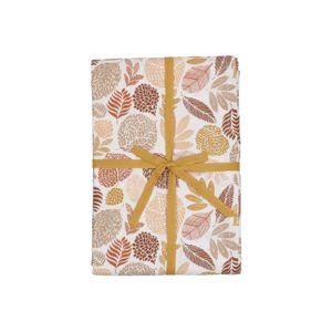 Tafelkleed, bio-katoen, bruin bladmotief, 145 x 250 cm