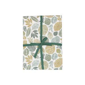 Tafelkleed, bio-katoen, groen bladmotief, 145 x 250 cm