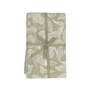 Tafelkleed, bio-katoen, groen met bladmotief, 140 x 180 cm