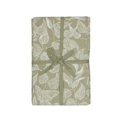 Tafelkleed, bio-katoen, groen met bladmotief, 145 x 250 cm