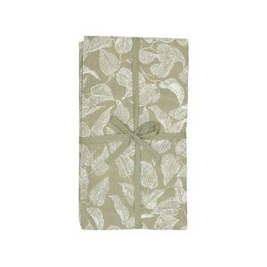 Tafelkleed, bio-katoen, groen met bladmotief, 145 x 300 cm