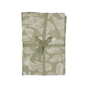 Tafelkleed, bio-katoen, groen met bladmotief, Ø 180 cm