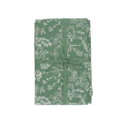 Tafelkleed, bio-katoen, groen met kruidenmotief, 145 x 250 cm