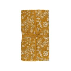 Tafelkleed, bio-katoen, okergeel met kruidenmotief, 145 x 300 cm
