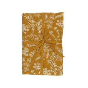 Tafelkleed, bio-katoen, okergeel met kruidenmotief, Ø 180 cm
