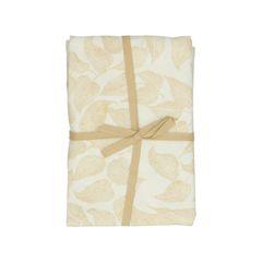 Tafelkleed, bio-katoen, wit met geel bladmotief, Ø 180 cm