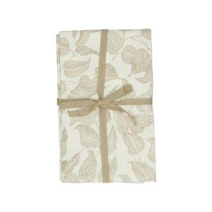 Tafelkleed, bio-katoen, wit met taupe bladmotief, 140 x 180 cm