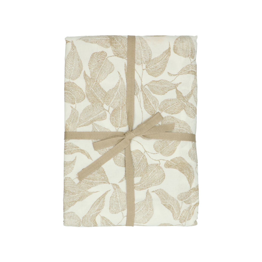 Tafelkleed, bio-katoen, wit met taupe bladmotief, 145 x 250 cm